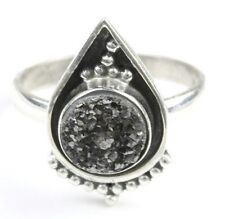 Black Spell Ring, Sterling Silver Ring, Druzy, Drusy, Stone Jewelry, Ethnic
