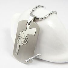 Men 316L Stainless Steel Army Dog Tag Gun Pistol Pendant Necklace 24""