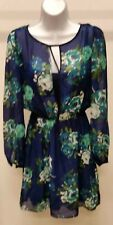 NWT $59 Speechless Floral Blue Green White Long Sleeve Dress Size: L