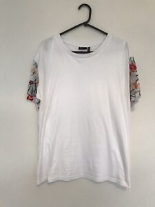 ASOS Maternity Size 14 Nursing Tshirt White With Sheer Floral Sleeves