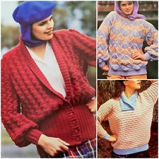 1980s Shell Lace Brick Lantern Sleeve Fair Isle Cleckheaton Knitting Pattern