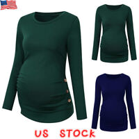 Women Maternity Long Sleeve T Shirts Tops Loose Fit Pregnancy Casual Blouse Tee