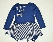 Girls size 4 Flapdoodles Long Sleeve Tunic Top Dress Blue White Bows & Stripes