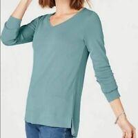NEW J. JILL M L XL Pima V-neck Long Sleeve Tee Knit 100% Cotton Blue Sage