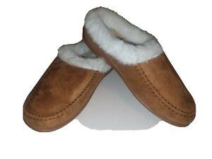 LADIES TAN SUEDE WARM FUR INDOOR OUTDOOR SLIPPER MULES UK 3-8 LS359