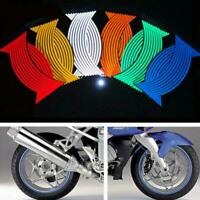 16 Strips Lots Reflective Motorcycle Car Rim Stripe Wheel Decal Tape Sticke V6B8