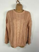 WOMENS MARKS & SPENCER UK 14 BLUSH CABLE KNIT BUTTONED SLEEVES WINTER JUMPER TOP