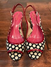 Kate Spade New York Blue/White Polka Dot Slingback Heels, Size 6