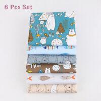New Bundle Lot Of 6 Pcs Fat Quarters Cotton Quilting Fabric Cute Cartoon Pattern