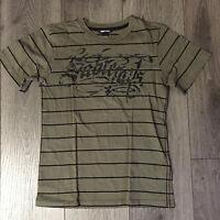 T-Shirt von H&M @ Gr. 146/152 @ oliv/schwarz gestreift @100% Baumwolle@w. NEU