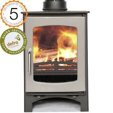 "Defra Approved Purefire 5kw Curve ""Grey Enamel""  Multi-Fuel Woodburning Stove"