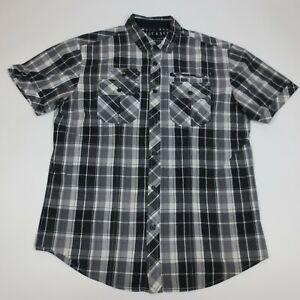 Marc Ecko Shirt Large Cut & Sew Button Up Short Sleeve Check Black White Men's