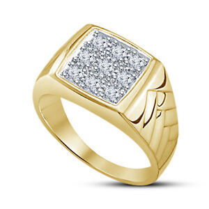 14K Yellow Gold Plated Round Cut Diamond Bridal Men's Engagement Wedding Ring