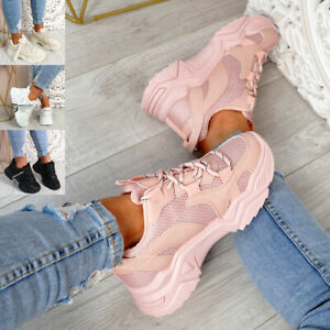 WOMENS LADIES SPORT CHUNKY SNEAKERS PARTY TRAINERS WOMEN SHOES SIZE UK