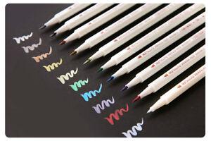10er Set Metallic Brush Pen Metallic Marker Stifte Künstler Manga Zeichnung