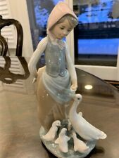 "Rare Lladro Figurine ""Feeding Time"" Girl Feeding Geese Ducks Retired #1277 10"""
