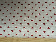 Shabby Chic Red Hearts on Beige 100% Cotton Fabric. Price per 1/2 meter