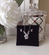 playboy silver bunny head necklace and earring set pink diamante detail