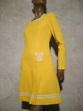 CHIC VINTAGE ROBE 1970 VTG DRESS 70s MOD NAVY KLEID 70er ABITO ANNI 70 (38)