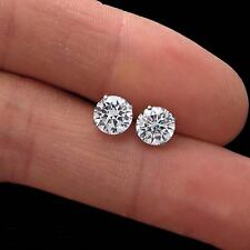 1.88CT BRILLIANT DIAMOND EARRINGS REAL 14K WHITE GOLD ROUND SOLITAIRE STUDS VVS1
