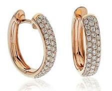 Snap Closure Hoop Rose Gold Fine Diamond Earrings