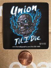 Union Til I Die Organized Labor Hard Hat Sticker Decal Solidarity Skull Flames