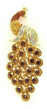 New Large Statement AB Topaz Brown Crystal Peacock Bird Brooch Mikey London