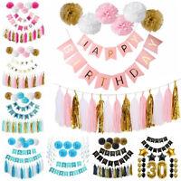 Happy Birthday Banner Tissue Paper PomPom Tassel Wedding Garland Kid Party Decor