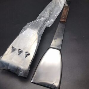Set of 2 Vtg MC BBQ Grill Spatula Tenderizer Tongs Stainless Steel w Wood Japan