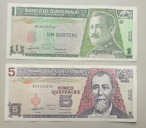 Guatemala: 2 superbes billets de 1 et 5 quetzales de 1992 (2 photos)