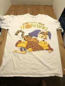 Vintage 90s Tigger & Pooh Bear Disney XL Big T Shirt Morning One Size White