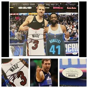 "Dirk Nowitzki JSA Signed 11x14"" Photo Retirement Jersey Swap Auto w/ Dwyane Wade"