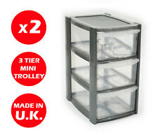 2 x 3 DRAWER SILVER TOWER UNIT -PLASTIC DRAWERS - STORAGE ORGANIZER - MINI/SMALL
