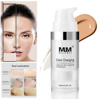 Fond Teint Couvrance Liquide Foundation Base Crème Changeant Couleur Maquillage