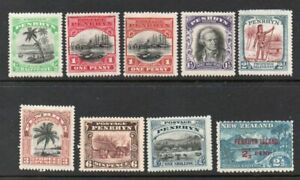 PENRHYN ISLAND NINE DIFFERENT *** MINT *** STAMPS INCLUDING FLAWS, cat. £60+