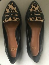 UGG LADIES BLACK LEATHER SLIP ON SHOES WITH ANIMAL PRINT, SIZE 3, BNWT RRP £99