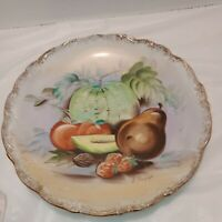 Vintage Ucagco Hand Painted Hanging  Porcelain Plate Fruit With Gold Trim Great