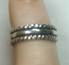 w/ Fancy Rope Border Sterling Silver Toe Ring Band