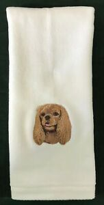 Cavalier King Charles Spaniel Ruby, TWO Hand Towels, Embroidered, Personalized