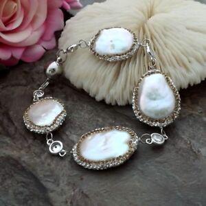 good quality cz Pave  natural White Keshi Pearl Chain Bracelet