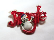Jingle With Snowman Brooch Pin Christmas Holiday Snow Frosted Glittery Red