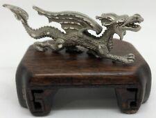 CUTERI Pewter Winged Dragon Figurine w/ Wood Base (RF979)