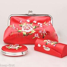 Chinese Handmade Embroidery Mirror, Lipstick Case, Cosmetic Bag Gift Set - Red