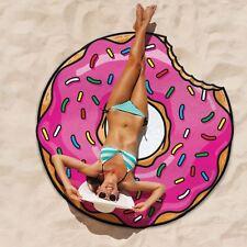 Manta de Playa Esmerilado Donut Rosa Toalla Microfibra Grande Tumbona Novedad