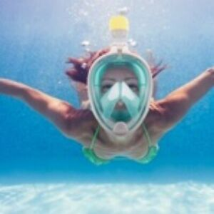New Breathfree Full Face GoPro Compatible Snorkle Mask Green sz.small / medium