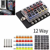 12-Wege Auto Blade Fuse Box Block Halter mit LED-Anzeige für 12V 24V Auto Boot