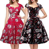 Halloween Retro Womens 50s Sweetheart Neck Vintage Party Rockabilly Swing Dress
