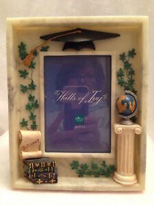 Russ Graduation Resin Halls of Ivy Mortar Board Cap Diploma Picture Frame Globe