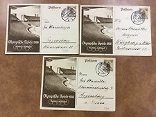 {BJ Stamps} Olympics Berlin Summer 1936, 6pf postal 3 cards P259 used July &Aug.