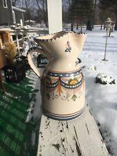 Sangria Pitcher Ceramic Arts Puente 114 Signed De La Cal Barreuza White Blue
